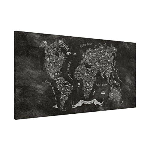 Bilderwelten Magnettafel - Kreide Typografie Weltkarte - Memoboard Panorama Querformat 1:2, Wandbild Magnettafel Pinnwand Magnetboard Magnetpinnwand Magnetwand Stahl Küche Büro, Größe HxB: 37cm x 78cm