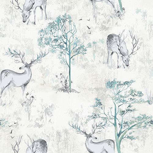 Hirsch Wald Bäume Tapete Tier Abstrakt Aquarell Weiß Türkis Rasch -