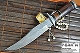 Cuchillo hecho a mano del bowie del cuchillo de caza de Damasco con la envoltura de cuero