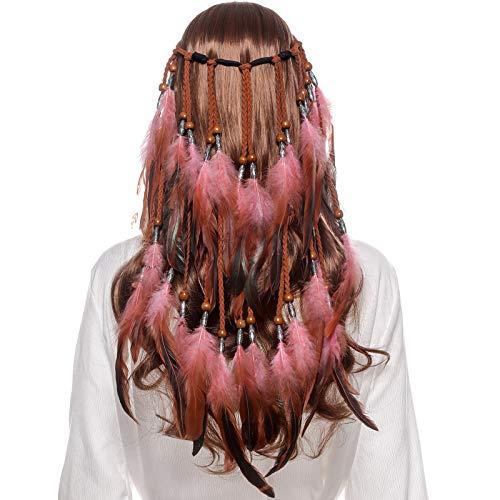 Kostüm Abstand - AWAYTR Feder Kopfschmuck Boho Hippie Stirnband - Fancy Federschmuck Böhmische Kopfbedeckung Quaste für Damen Mädchen Karneval Kopfschmuck (Rosa)