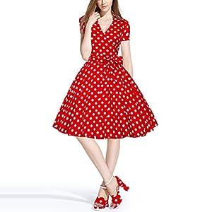 Kleid der Frau Damen Kleider Vintage Street Chic A-Linie Kleid – Polka Dot großes Pendel Pompon Kleid Vintage-Kleid Seaside Casual Urlaub Frühling Sommer