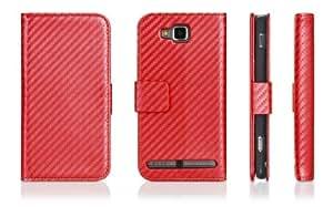 DONZO® Wallet Schutzhülle aus Leder mit Standfunktion für Samsung i8750 CARBON STYLE - red