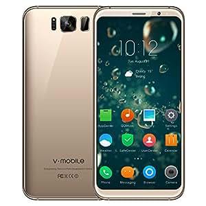 Telefonia Smartphone Offerte 4G V·Mobile S8 Supporta 16GB ROM 5.8 Pollici Dual SIM CPU 4 Core Android 7 Telefoni Cellulari in Offerta 8MP Fotocamera Batteria 2800mAh Wifi Cellulare GPS (Oro)