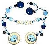 Kinderwagenkette mit Namen Teddy-Bär / Bärchen blau