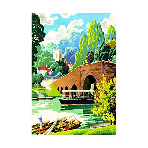 Village Scene River Thames Boat Church Scenic UK Framed Art Print B12X12230 -