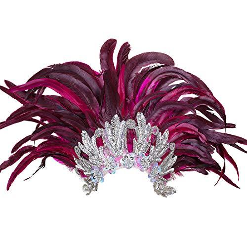 Amakando Federkopfschmuck Rio Samba-Kopfschmuck Silber, pink brasilienisches Kostüm Accesoire Sambatänzerin Zubehör Showgirl Outfit Karneval in ()