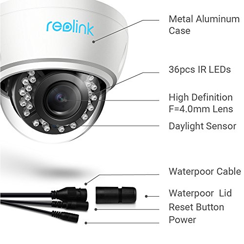 Image of IP Camera,Reolink RLC422 4 Mega Pixels IP Security Camera,4X Optial Zoom,POE,Outdoor, Day/Night, Plug and Play, Motion Detection,Home Surveillance,