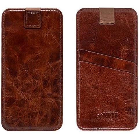 atKITE – Custodia a portafoglio in vera pelle con tasca per iPhone 6 Plus / 6S Plus - Caffè