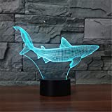 3D Nachtlicht,SUAVER 3D Illusion Lampe 7 Farben ändern USB LED Lampe und Tischlampe Touch Stimmungslichter Für Schlafzimmer Kinderzimmer (Papier geschnittener Fisch)