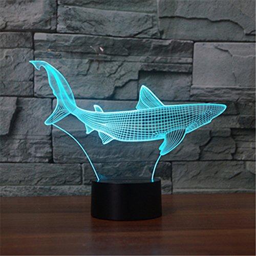 (3D Nachtlicht,SUAVER 3D Illusion Lampe 7 Farben ändern USB LED Lampe und Tischlampe Touch Stimmungslichter Für Schlafzimmer Kinderzimmer (Papier geschnittener Fisch))