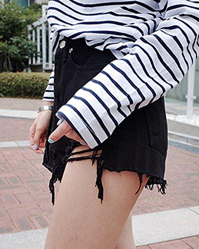 Femmes Vintage Taille Haute Courts Jeans Denim Shorts Noir