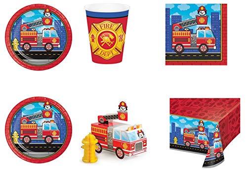 ause Pompieri Coordinato ADDOBBI Tisch Festa Feuerwehr - Set Nr. 15 CDC-(40 Teller, 23 cm, 40 Gläser, 48 Töpfchen, 1 Töpfchen, 1 CENTROTAVOLA) ()