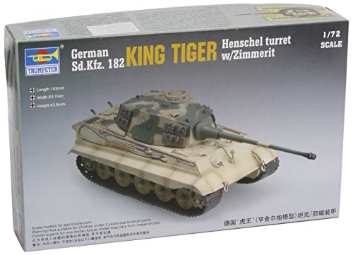 Faller trumpeter 07291 - modellino da costruire, carro armato king tiger henschel turret, con rivestimento anti-mine zimmerit
