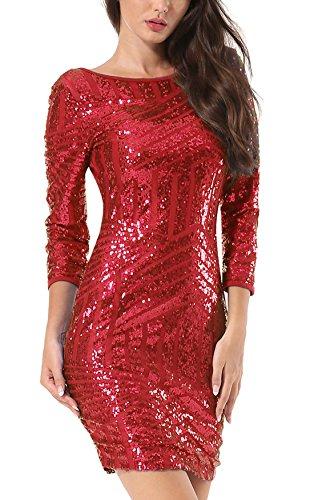 Yidarton Damen Paillettenkleid Langarm Rundhals Backless Partykleid Ballkleid Abend Minikleid (Rot,...