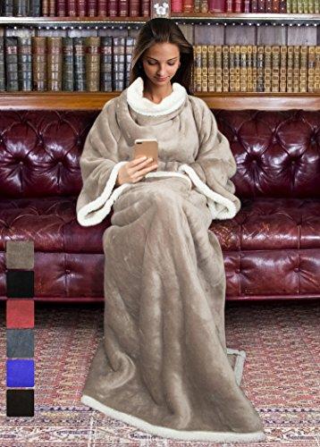 Sherpa Thermal (Sherpa Decke mit Ärmeln für Damen und Herren, Super weicher Microplüsch Adult bequemen Überwurf Bademantel TV Decke 182,9x 139,7cm Komfort Caring Geschenk | Katalonien Serie von Terrania camel)