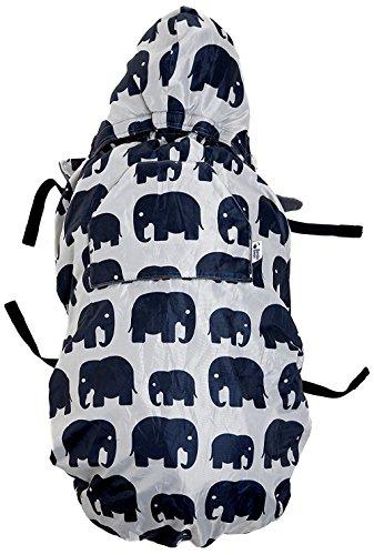 BundleBean - Wetterschutz-Cover für Babytragen & Tragetücher - Fleece-Futter - Grau mit Elefanten