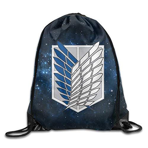 (GONIESA Fashion Unisex Gym Bag Attack On Titan Corps Badge Drawstring Backpack Sack Bag)