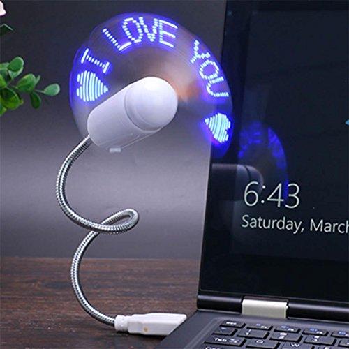 Led-message-fan (yifutang USB Mini LED Fan Message Fan mit Flexibler Schwanenhals Nachricht Programmierbare RGB LED Display Speicher Funktion Für PC Laptop Notebook Desktops, Blue)