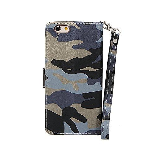 """Hülle für iPhone 7, xhorizon MW8 Armee Camouflage PU Leder Case Voll Körper Schützender Stand Case mit Kartensteckplätzefür iPhone 7 [4.7""""] Camouflage Blau mit einem 9H gehärtet Glasfilm"""