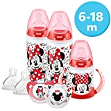 NUK Disney Baby Bottle, Soother & Sippy Cup Set, 6-18 Months, Minnie Mouse Design, with 2 Baby Bottles, 1 Learner Cup, 2 Silicone Soother & 2 Silicone Teats (Designs may vary)