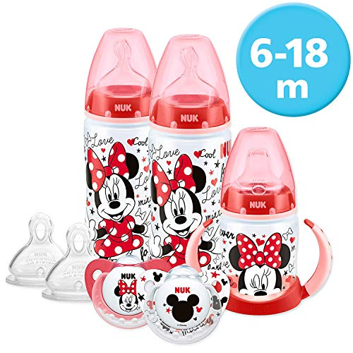 NUK Ensemble de biberons gobelet et tétines pour bébés de 6 à 18 mois Motif Disney Mickey et Minnie (Les dessins peuvent varier)