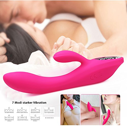 Vibratoren für Sie Klitoris und G-punkt mit Stoßfunktion - Adorime Silikon Rabbit Vibrator Analvibrator Dildo Erotik Sexspielzeug für Frauen und Paare mit 7 Vibrationsfrequenz - 4