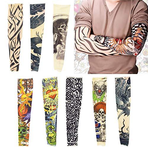 INTVN 8 Stück Tattoo Ärmel Große Größe Tatoo Armstrümpfe Arm Tattoo Strumpf Unisex Nylon Tattoo Armstrumpf Temporäre Tattoos Arm Tätowierung Gefälschte Slip Tattoo für Karneval Fasching Party - 19-zoll-strumpf
