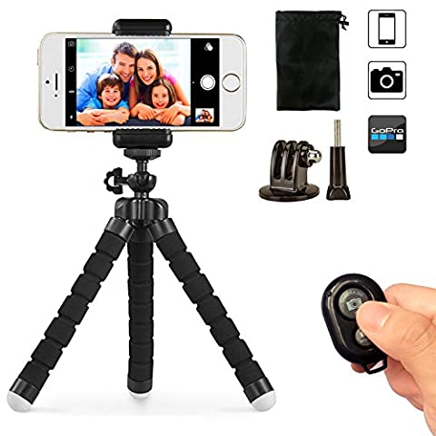 Phone tripod, UBeesize Portable and Adjustable Camera Stand Holder with Bluetooth Remote and Universal Clip for iPhone, Android Phone, Camera,