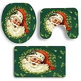 Amphia Badematte + WC-Sitz + WC Sitzbezug Matte,Weihnachten Dekoration Teppich Badematte/Fußmatte - 3PCS Weihnachts Bad Rutschfesten Sockel Teppich + Deckel Toiletten Deckel + Badematte