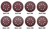 80 Exzenter Klett Schleifpapier Schleifscheiben für Exzenter- Schleifer mit Ø 125 mm und 8-fach Lochung als Preisfiffi Spezial SET - Pack mit je 10x Korn 40/60/80/100/120/150/180/240 (Ø125mm)