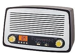 Nostalgie Retro Holz Musikanlage Radio mit USB MP3 Player SD-Card Musikanlage Uhrenradio Radiowecker Küchenradio Retroradio