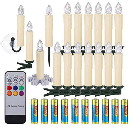 30er LED Weihnachtskerzen RGB Warmweiß mit Halter Set Batterien Fernbedienung Timer, IP64 wasserdichte Kerzen Lichterkette für Auß-Innen Weihnachtsbaum Fenster Garten Geburtstag Party Deko (Beige 30x)