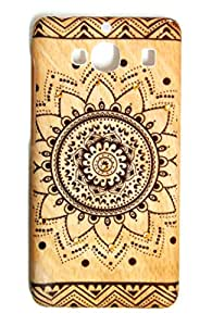 Xiaomi Redmi 2Back Cover Wooden Texture 3D print Traditional Print High Quality Floral Wood Print With Golden Diamonds by DRaX®