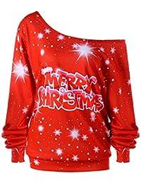 BaZhai de Navidad, Cuello de Sarga de Manga Larga con Estampado navideño para Mujer del Sudadera de Manga Larga con Estampado de Feliz Navidad para Mujer Talla Grande Blusa para Mujer Top Larga