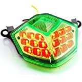 Motorcycle Racing 36 LED Integrated Lamps Running Brake Lights Turn Signal Rear Taillight Fit For Kawasaki Z 750 2007 2008 2009 / Z 1000 2007 2008 2009 2010 JDM Style Green