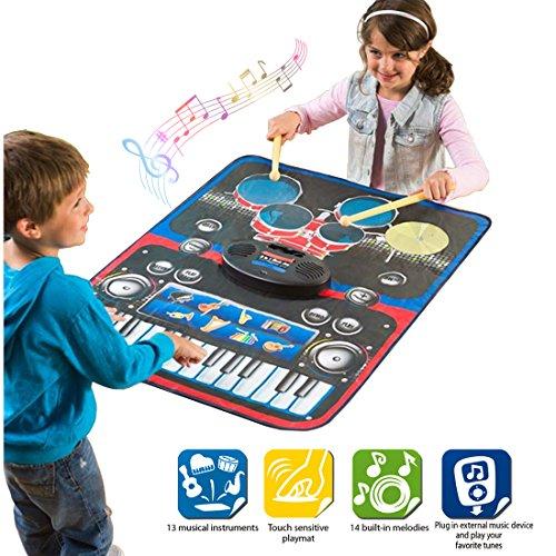 deAO Tapis Musical pour Enfants Ensemble de Tambours et Clavier 2in1 - Tapis de jeux Électroniques Comprend Bâtons et Câble Aux