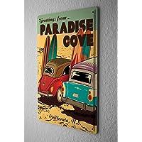 Nostalgico Cartello Targa In Metallo Saluti da Paradise Cove California tavole da surf sulla spiaggia 20X30 cm