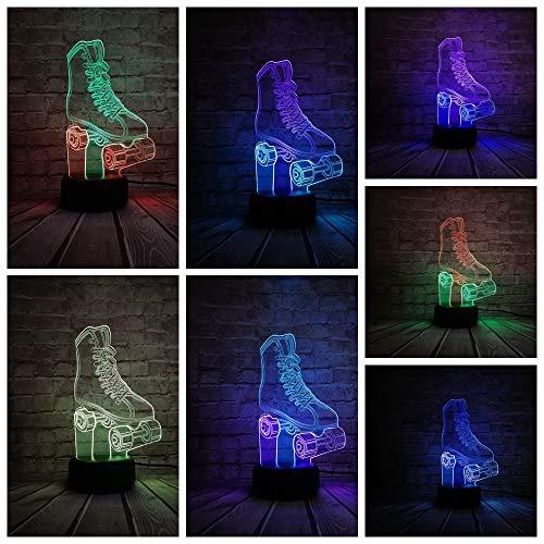 LIkaxyd 3D Lampe Led Täuschung Nachtlicht, 7 Farbwech Ändern Berühren Sie Schreibtisch Lampe,Das Perfekte Weihnachts- Und Neujahrsgeschenk Für Kinder[Energieklasse A+]Sportliche Rollschuhe