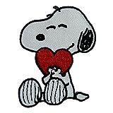 The Peanuts Snoopy mit Herz Comic Kinder weiß bestickt abzeichen Patch Aufnäher oder zum Aufbügeln 6,9cm x 5,3cm Cartoon-Größen