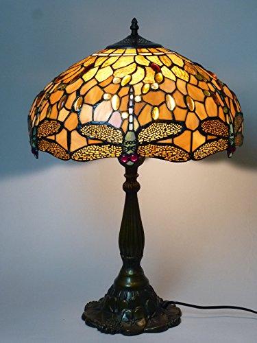 Hochwertige Echtglas Tiffany Tischleuchte Charlotte groß Lampe im Tiffany Stil Leuchte