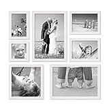 PHOTOLINI 7er Set Landhaus-Bilderrahmen Weiss 10x10 10x15 13x18 20x20 und 20x30 cm Massivholz inkl. Zubehör