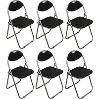 Negro acolchado, plegable, silla de escritorio - Pack de 6