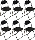 Harbour Housewares Black Padded, Folding, Desk Chair – Pack of 6