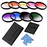 CAM-ULATA 40.5mm Slim Gradual Color Filter Set Kit and Wallet Filter Pouch for Sony Alpha a6300 a6000 a5000 a5100 NEX 5 6, Nikon 1 AW1 J1 J2 J3 J4 J5 S1 S2 V1 V2 V3 Digital DSLR Camera