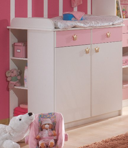 Babyzimmer Wickelkommode »KINGDOM« weiß - rosé