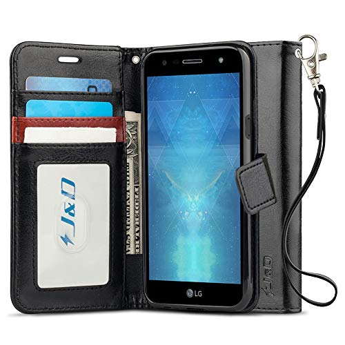 J & D LG X Power 3 Hülle, [Handytasche mit Standfuß] [Slim Fit] Robust Stoßfest Aufklappbar Tasche Hülle für LG X Power 3 - [Nicht kompatibel mit LG X Power 2, LG X Power] - Schwarz