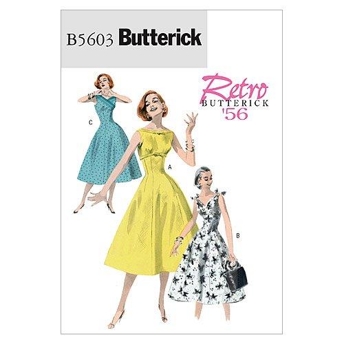 Butterick Patterns B5603 patron de robe pour femme tailles 36, 38, 40, 42, blanc