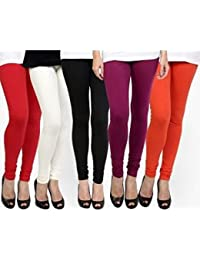 M.G.R.J Women's Cotton Lycra Churidar Leggings Combo (Pack Of 5 White, Black, Red, Purple, Orange) - Free Size