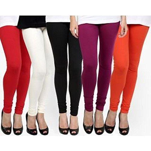 M.G.R.J Women\'s Cotton Lycra Churidar Leggings Combo (Pack of 5 White, Black, Red, Purple, Orange) - Free Size