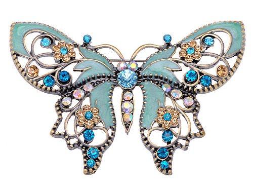 Alilang Damen Vintag Antiker Stil Grün Blume Strass Schmetterling emailliert ()